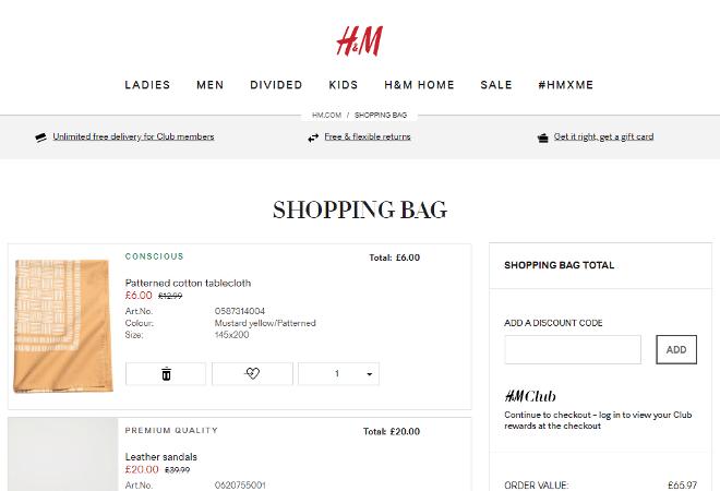 H M discount code